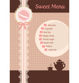 cute sweet brown lace tea and confection menu vector image vector image