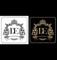 de royal emblem with crown set black and white vector image vector image