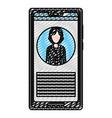 doodle smartphone media woman reporter news vector image