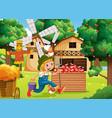 farm scene with farmer boy cartoon character vector image vector image