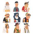 fashion senior men set old man characters wearing vector image