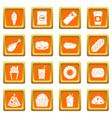 fast food icons set orange vector image vector image