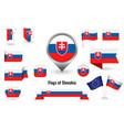 flag slovakia big set icons and symbols vector image vector image