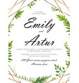 floral card design with green fern forest leaves vector image vector image