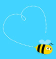 flying bee icon dash line heart happy valentines vector image