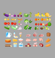food cartoon set fruits vector image vector image