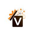 gift box ribbon letter v vector image vector image