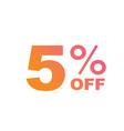 Gradient pink to orange five percent off special vector image