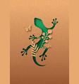green lizard animal paper cut nature leaf concept vector image