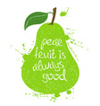 green pear fruit silhouette vector image vector image
