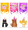 Happy Birthday banners with cat dog bird vector image