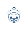 happy chinese emoji line icon concept happy vector image