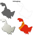 Heilongjiang blank outline map set vector image vector image