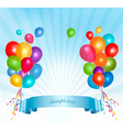 Holiday balloons frame composition vector image