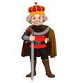 King with crown and sword vector image