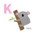 letter k koala zoo alphabet english abc vector image vector image