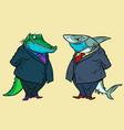 medical mask quarantine shark and crocodile two vector image vector image
