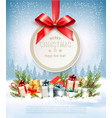 merry christmas holiday background with branches vector image