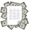 money frames this 2019 calendar on a blank page vector image vector image