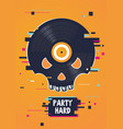 music party poster with skull and vinyl record vector image vector image
