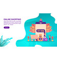 online shopping concept with character template vector image