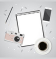 paper pencil phone and coffee on the table top vector image