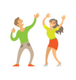 partying couple man and woman dancing on disco vector image vector image