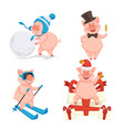 pig isolated icons new year symbol snowball vector image