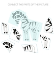 Puzzle game for chldren zebra vector image vector image