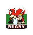 Rugby player scoring try wales flag vector image vector image