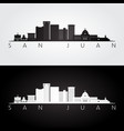 san juan skyline and landmarks silhouette vector image vector image