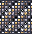 seamless pattern of different cat heads vector image