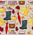 seamless pattern with hand-drawn autumn elements vector image