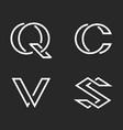 set letters s c q v monogram logos mockup vector image vector image