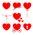 Set of 7 Valentines Day hearts vector image vector image