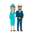 stewardess in cap and sea captain with binoculars vector image vector image