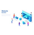team of programmers makes web page design site vector image