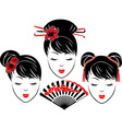 three portraits asian girls vector image vector image