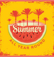 travel banner with watermelon and palm trees vector image vector image