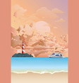 tropical lighthouse on rocky outcrop at dawn vector image vector image