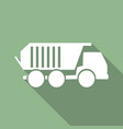 truck icon with long shadow vector image vector image