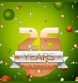 twenty six years anniversary celebration design vector image vector image