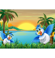 Two colorful birds at the riverbank vector image vector image