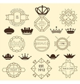 Vintage labels and royal crowns vector image