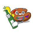 with beer palette mascot cartoon style vector image