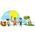 with the image of a band of pirates on a desert vector image vector image