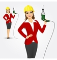 woman architect with drill vector image