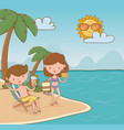 young couple on beach scene vector image vector image