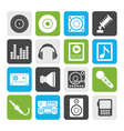 Flat Music and sound icons vector image