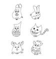 funny pet set liner vector image